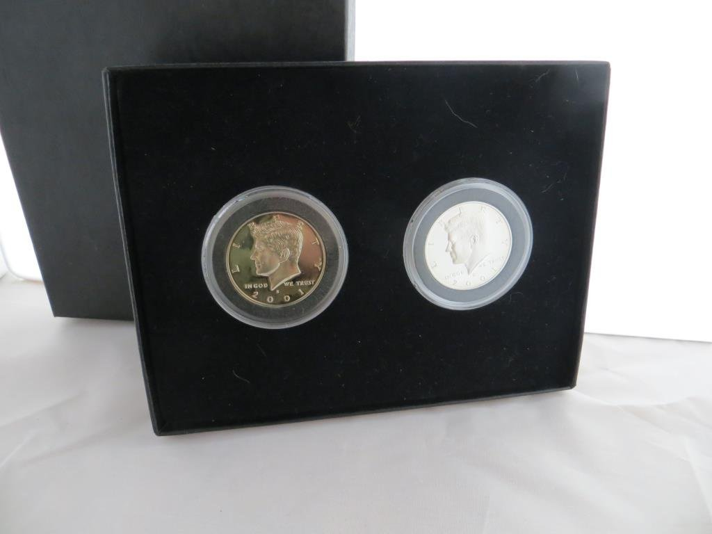 (2) 2001 Proof Kennedy Halves in Case- Clad