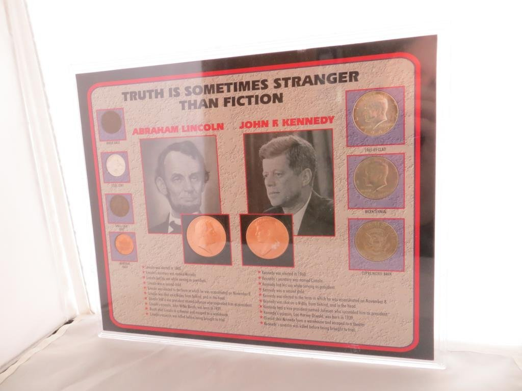 Kennedy-Lincoln Comparison Plaque w/ Coins