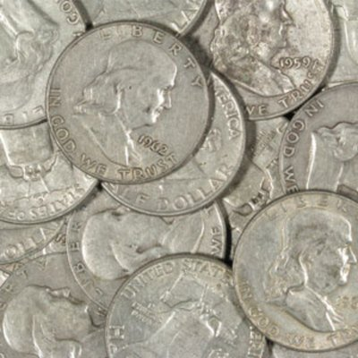 Lot of (10) Franklin Half Dollars 90% Silver