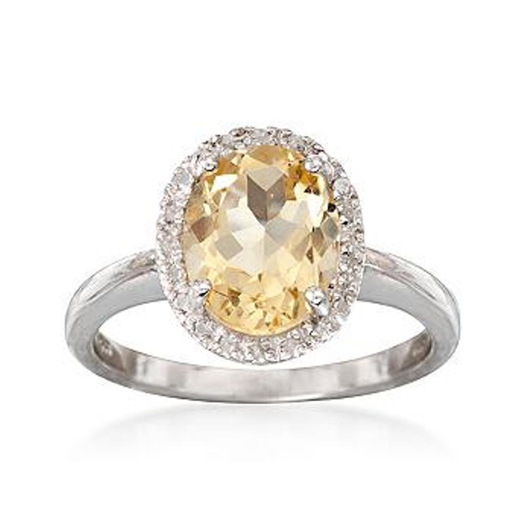 2.20 Carat Citrine Ring With Diamonds in Sterling
