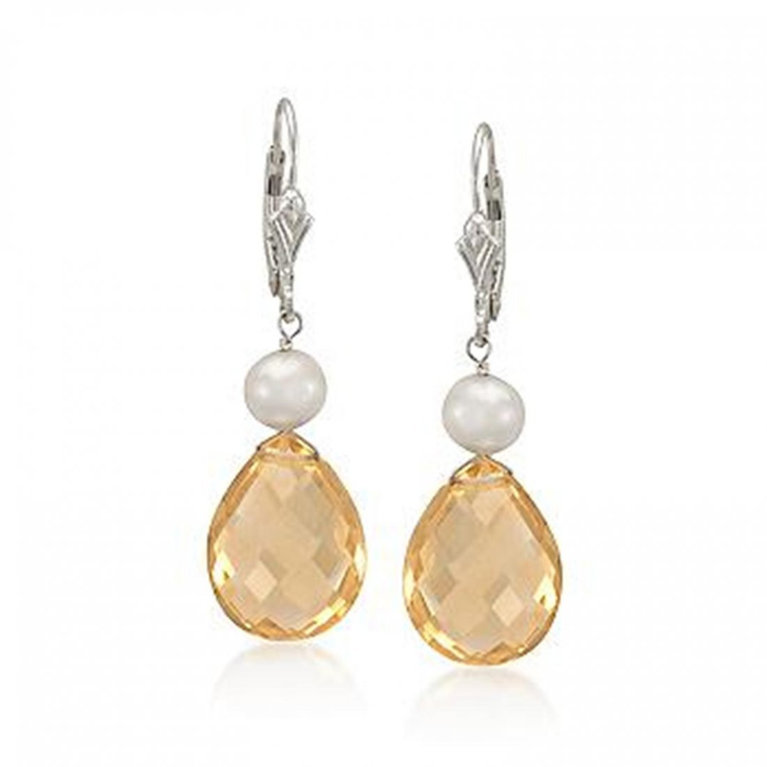 6-7mm Pearl and 17.00 ct. t.w. Citrine Drop Earrings in