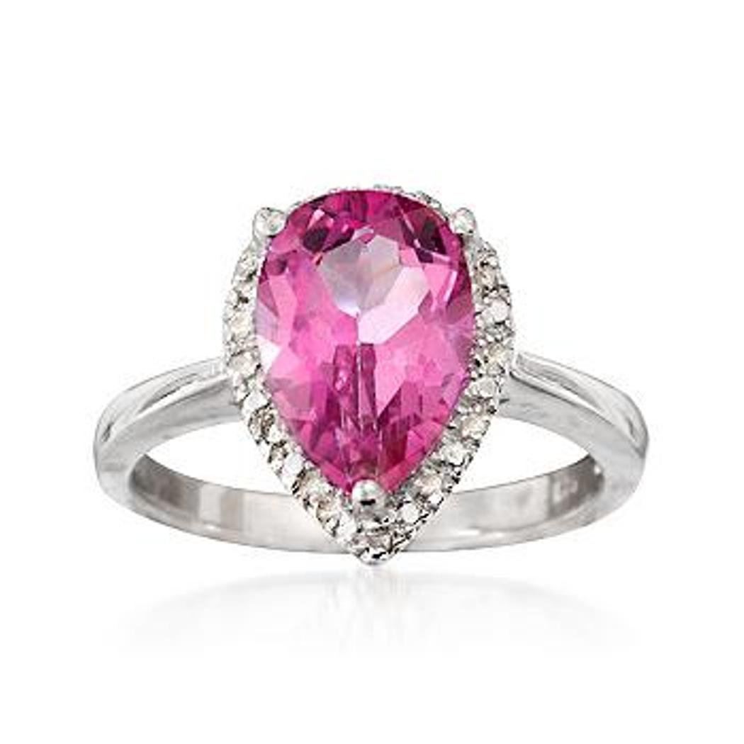 3.90 Carat Pink Topaz Ring With Diamonds in Sterling