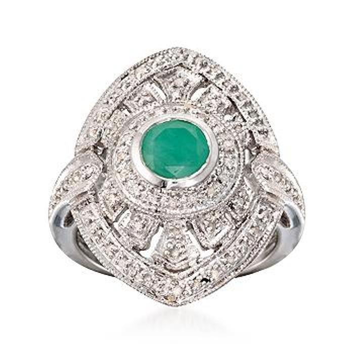 .90 Carat Emerald and .34 ct. t.w. Diamond Ring in