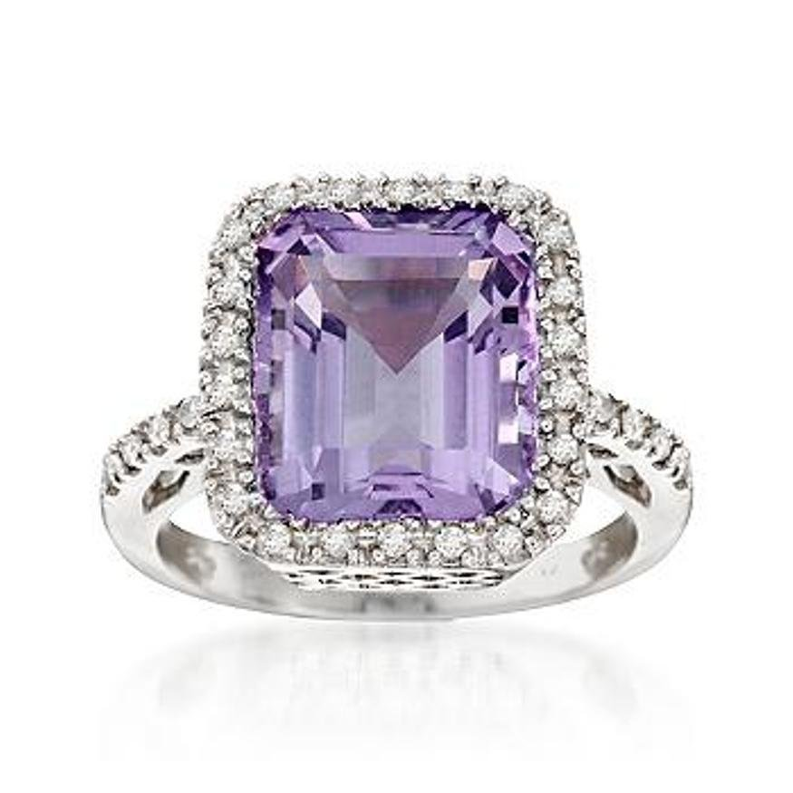 5.80 Carat Amethyst and .25 ct. t.w. Diamond Ring in