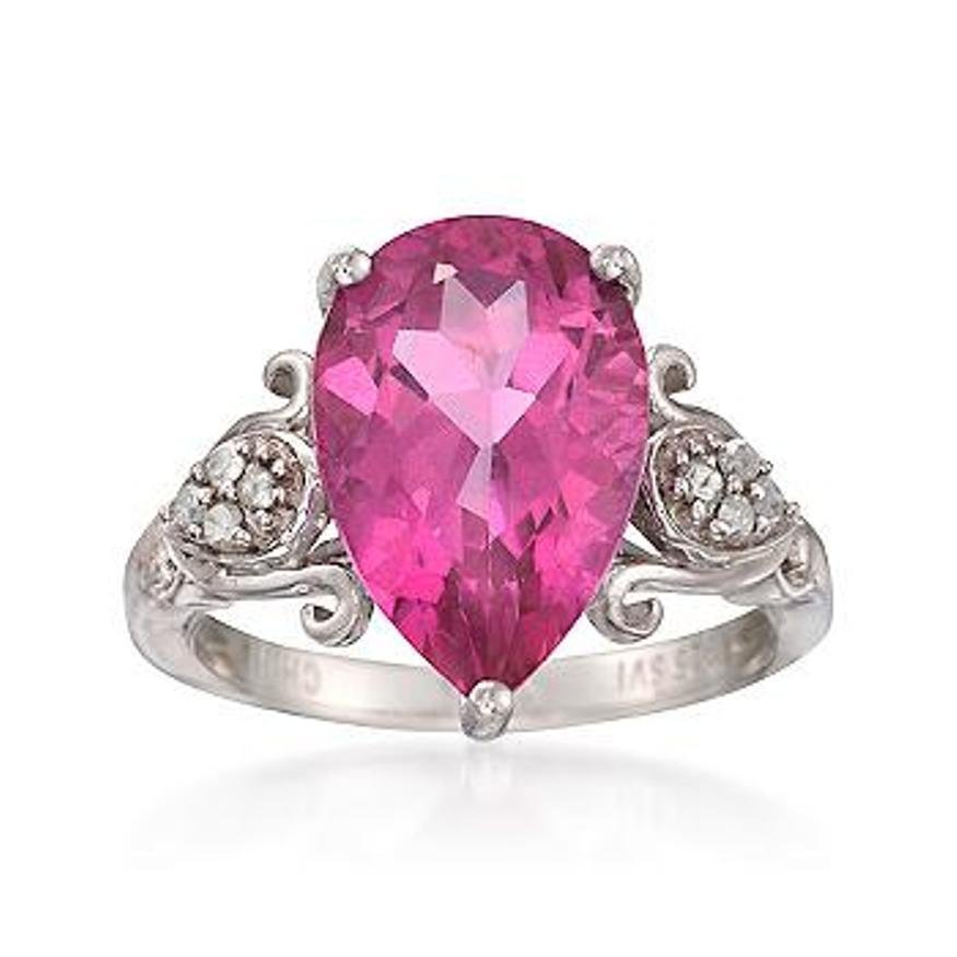 6.75 Carat Pink Topaz and .12 ct. t.w. Diamond Ring in
