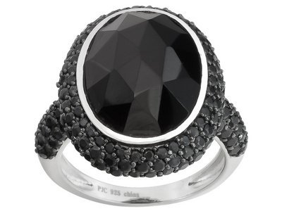 Black Spinel 10.00ctw Oval And Round, Sterling Silver