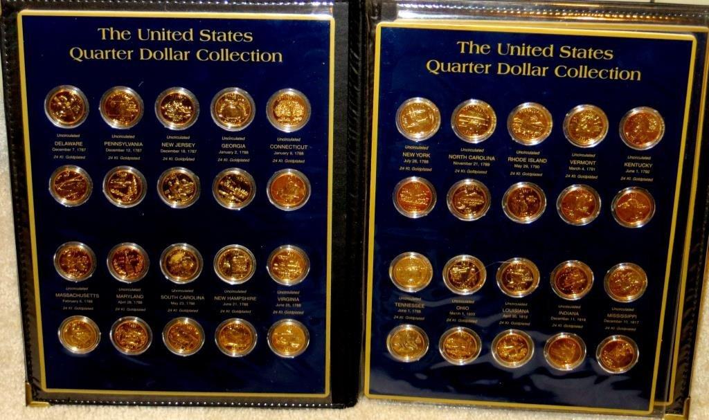 50 pcs. 24k GP State Quarters in Folio