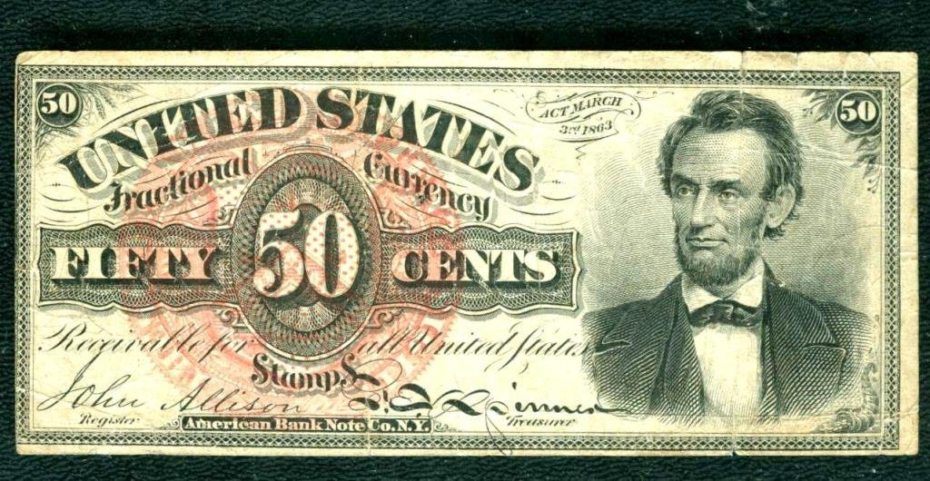 RARE ABE LINCOLN Fractional Currency 50c
