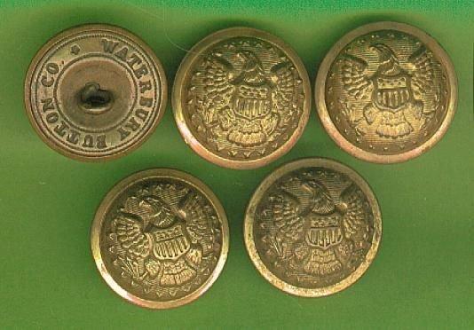 Set of 5 Union General Staff Coat Uniform Buttons