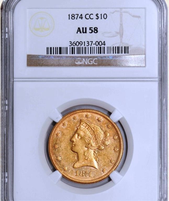 1874 -CC $10 Liberty NONE FINER - 4 graded