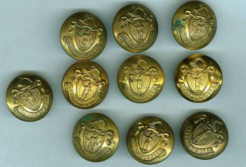 Indian War Era 10 Masacusetts State Coat Buttons