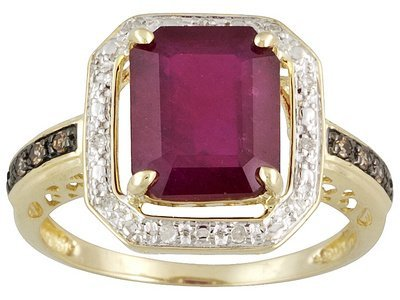 Ruby 4.10ct With Champagne & White Diamond Accent 10k