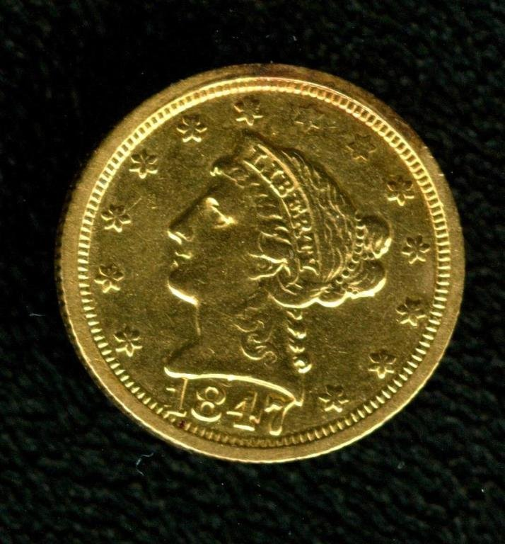 1847 O Early Date Liberty $ 2.5 Gold Coin