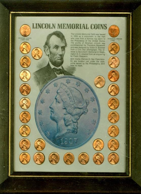 Lincoln Memorial Cent Collection in Wooden Frame