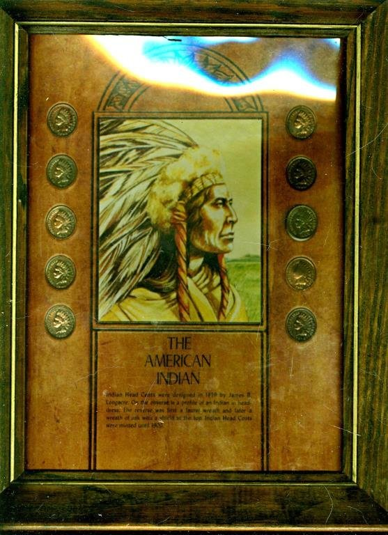 The American Indian Cent Set in Wood Frame