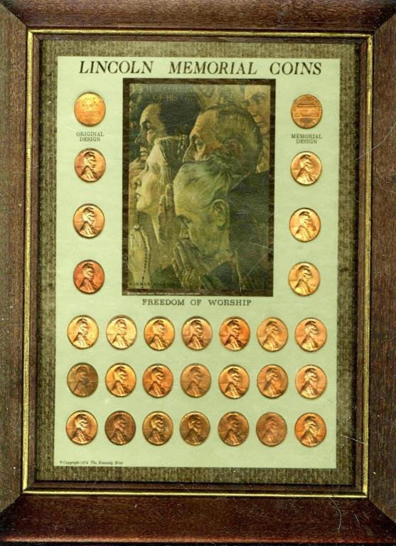 Lincoln Memorial Coins in Wood Frame