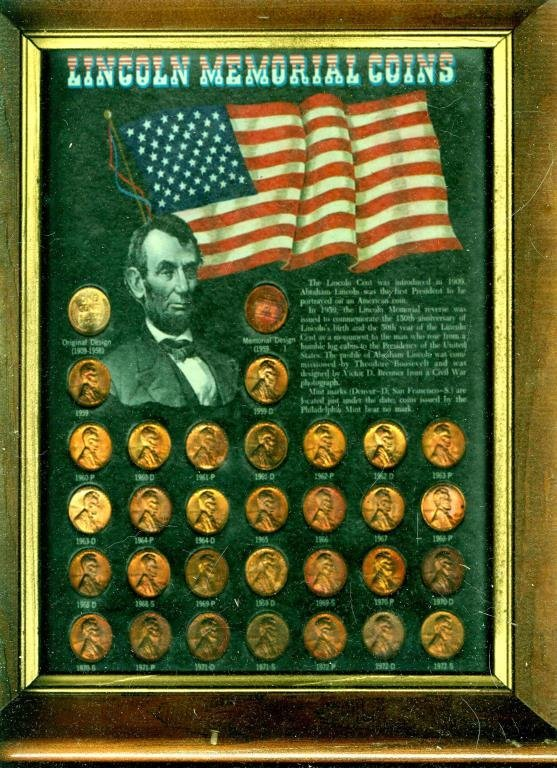Lincoln Memorial Cents in Wood Frame