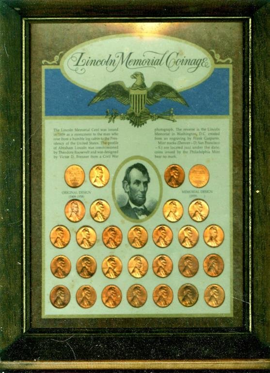 Lincoln Memorial Coinage in Wood Frame
