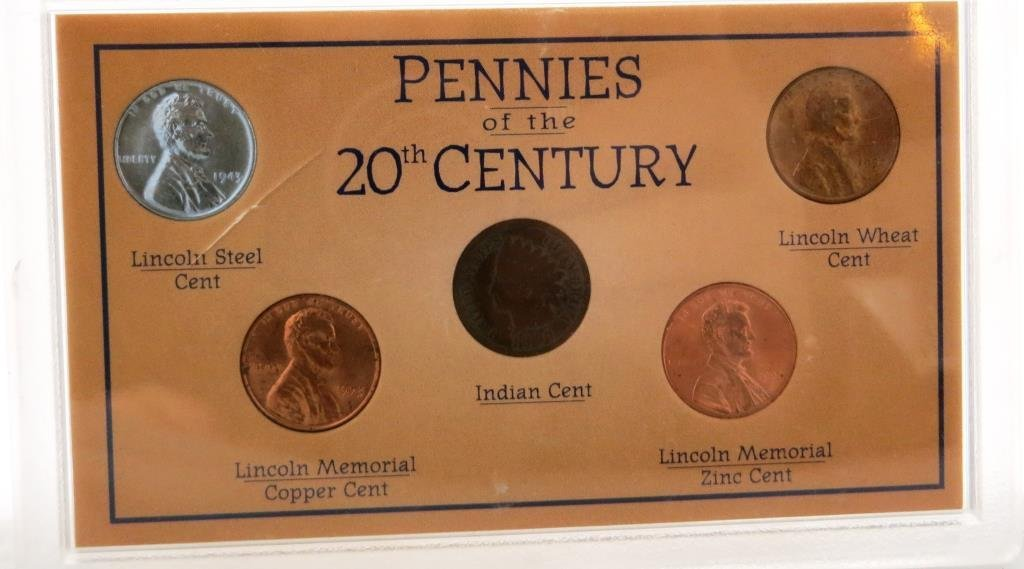 Pennies of the 20th Century in Plastic Case