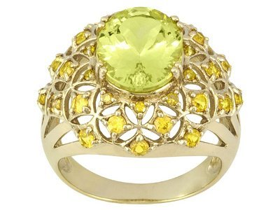 4.38ctw Canary Apatite With Multi-gem 18k Yellow Gold