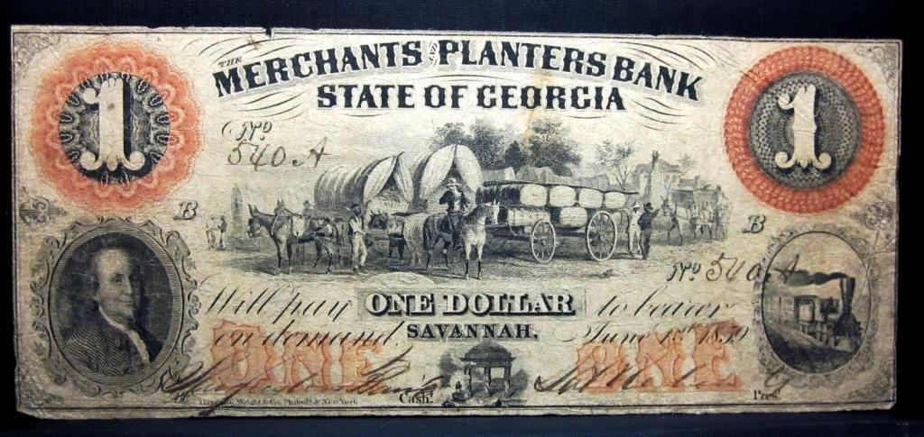 1859 Georgia Bank Note- Merchants Savanah $1