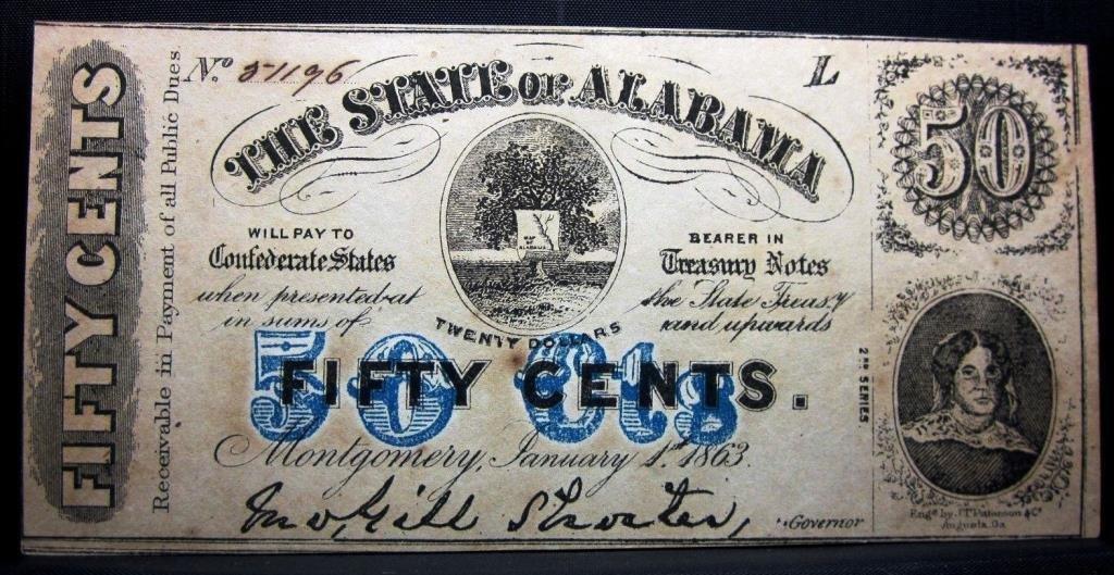 1863 50 cent Confederate Note RARE