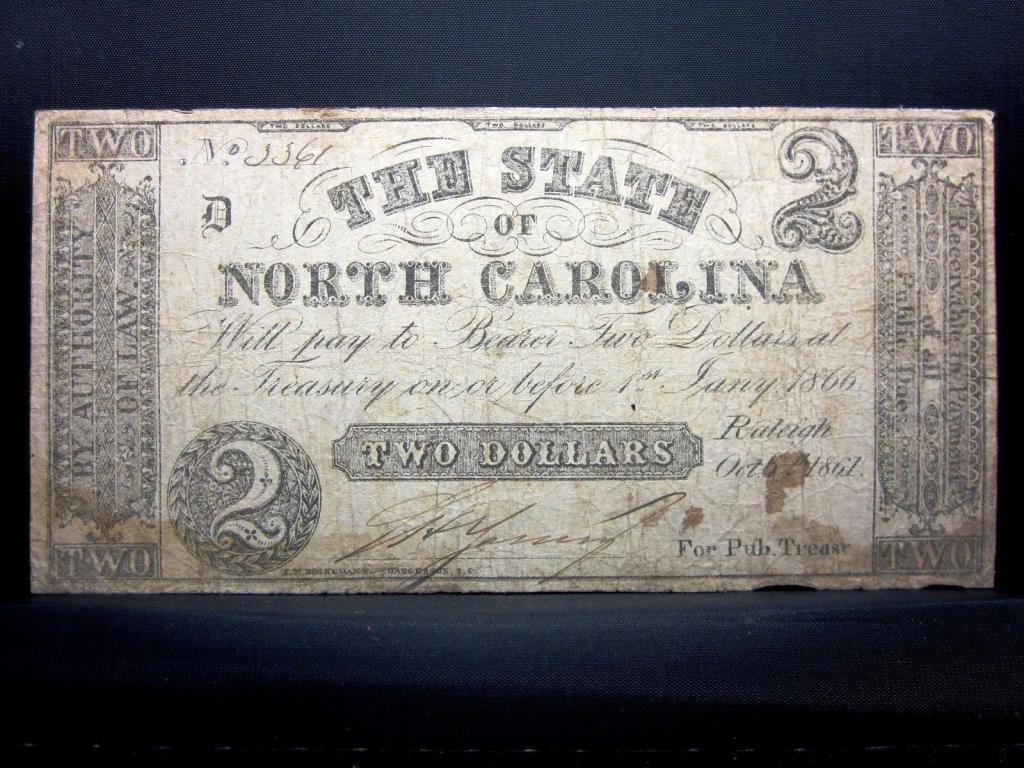 1861 Civil War No. Carolina $ 2 Note