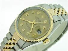Mans Rolex 18k YGSS Datejust Diamond Dial