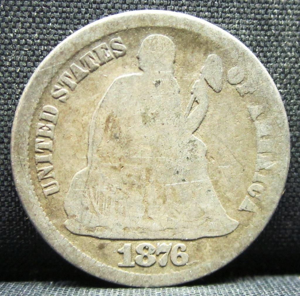1876-CC SEATED LIBERTY DIME VG VERY GOOD  CC 10c