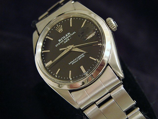 Mens Stainless Steel Rolex Date W/Black Dial