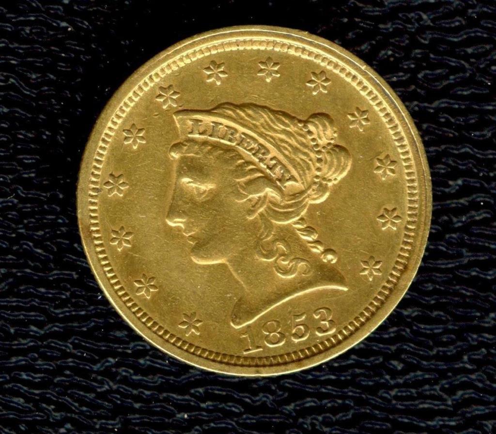 Tough Date 1853 P $ 2.5 Gold Coronet Liberty