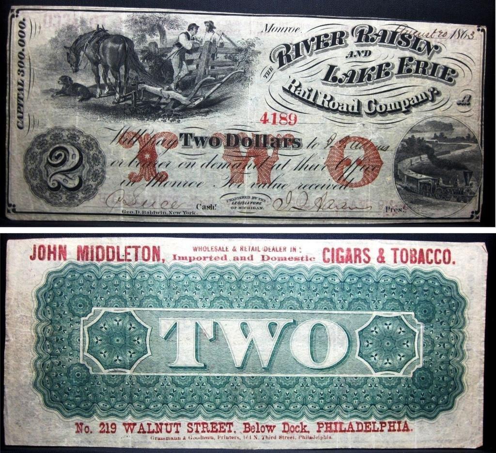 1863 Civil War $2 Bill, Cigars & Railroad Advert.