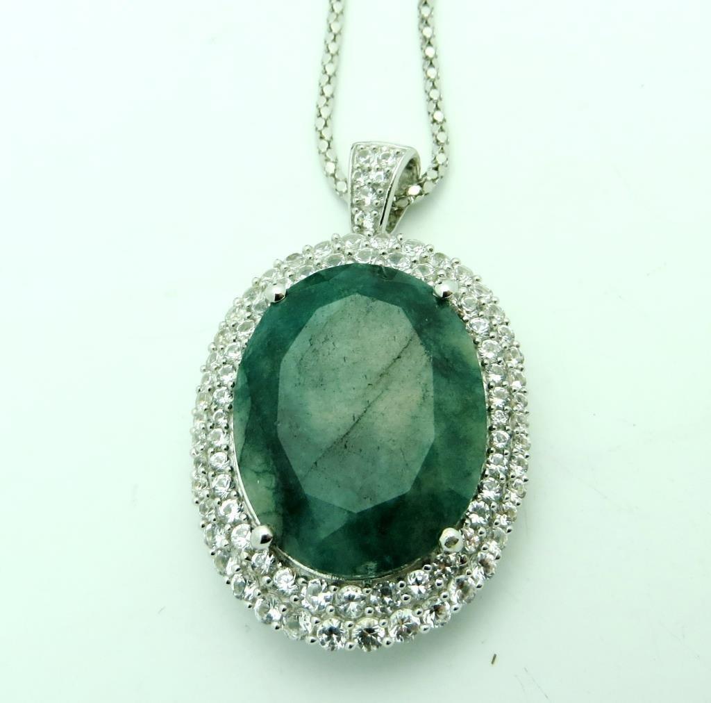 $7,392 Emerald & Sapphire Pendant