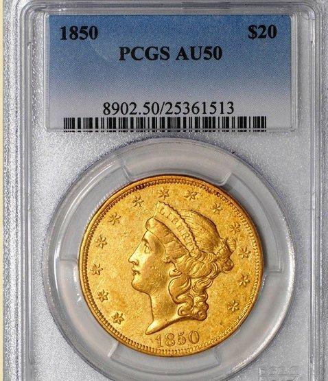 1852 $20 Liberty AU50 PCGS 926275-75