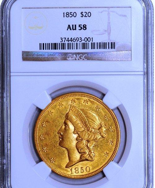 1850 $20 Liberty AU58 NGC