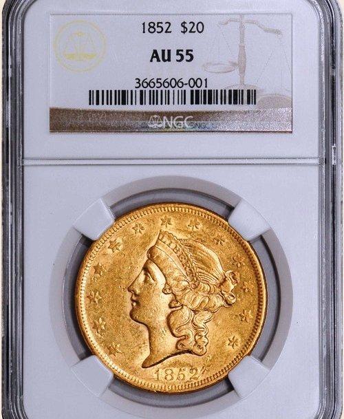 1852 $20 Liberty AU55 NGC