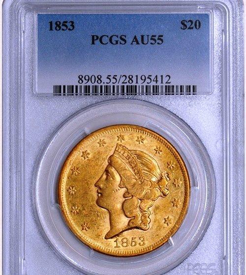 1853 $20 Liberty AU55 PCGS