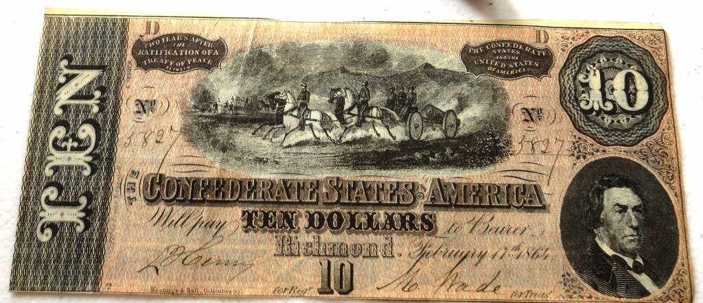 1864 High Grade AU-NC $ 10 Confederate Note