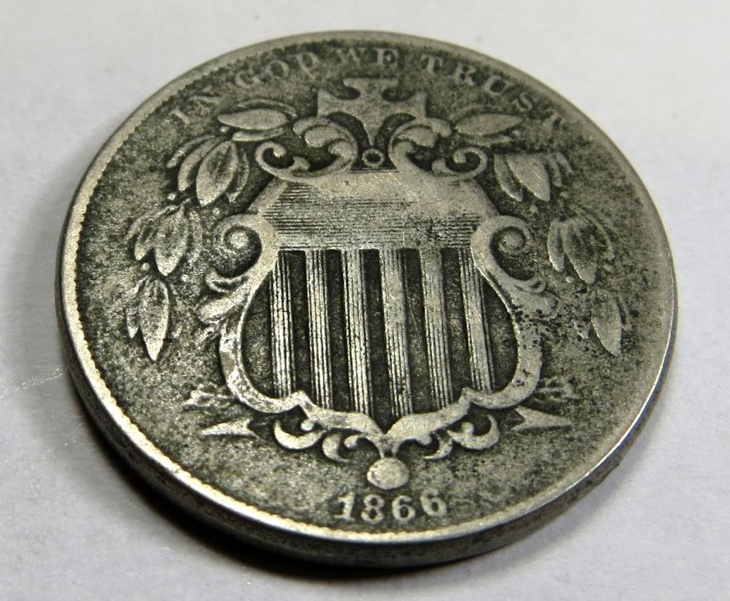 1866 Shield Nickel Nice Original XF