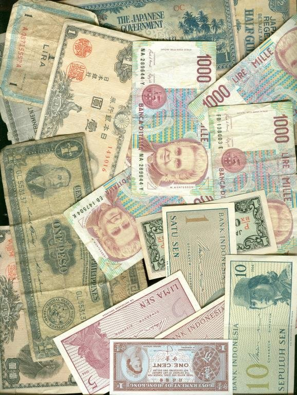 Lot of (20) Antique & Obsolete Foreign Currency