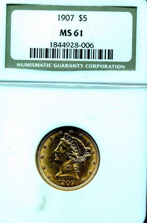 1907 $5 Gold Liberty MS 61 NGC Graded