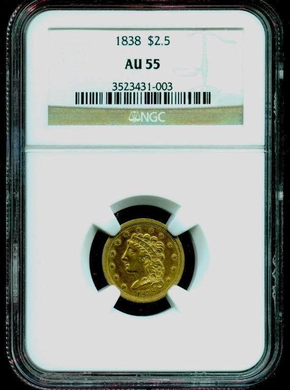 RARE EARLY Date 1838 $2.5 AU 55 NGC RARE