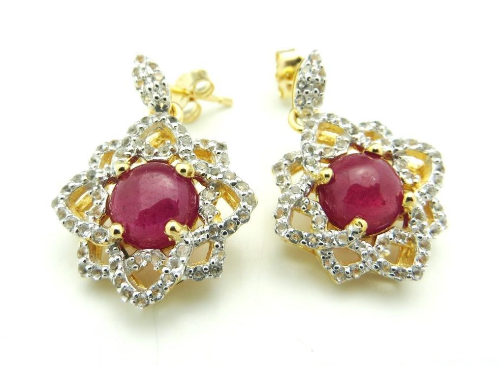 $2,387 GG Appraised Ruby & Topaz Earrings