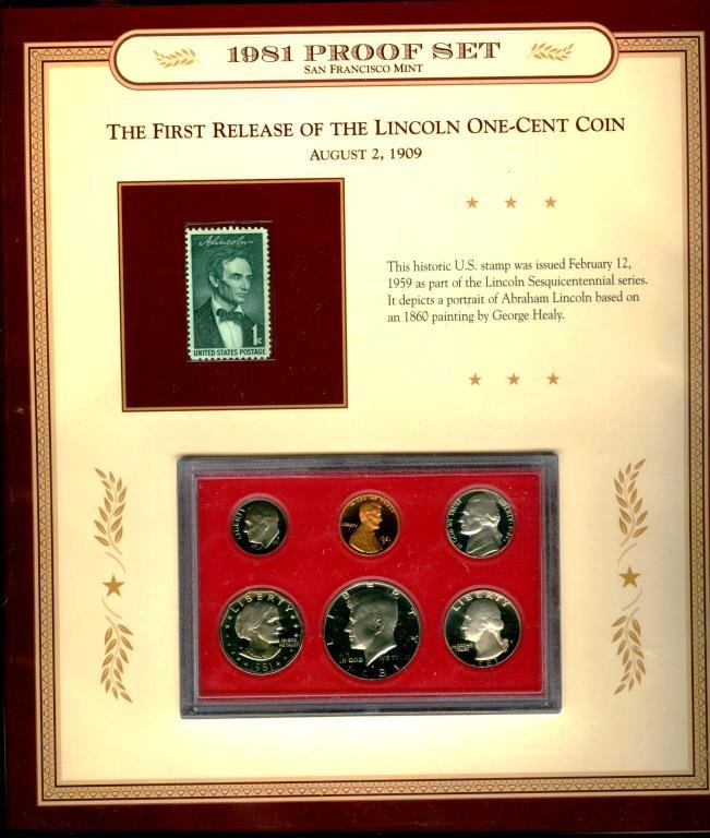 1981 S Proof Set w/ Lincoln Stamp on Mounting