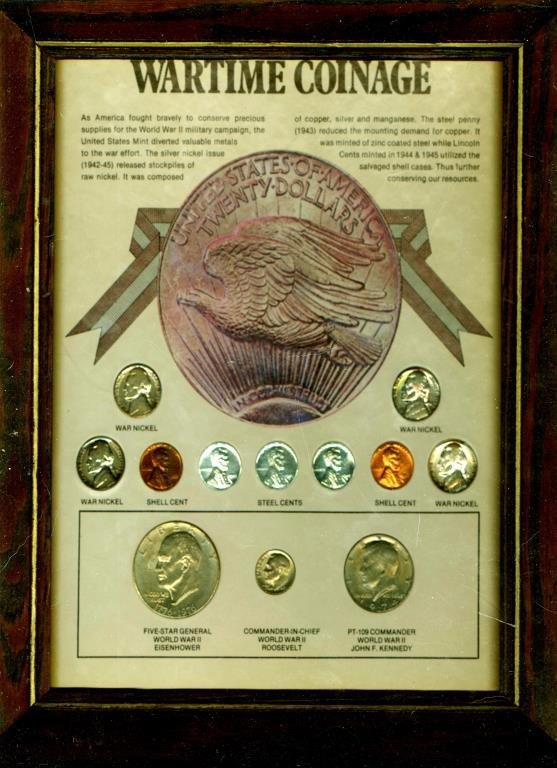 Wartime Coinage in Wooden Frame