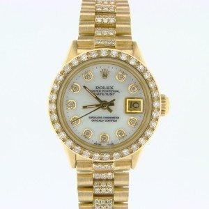 18k Diamond Dial and Bezel Rolex Ladies Watch
