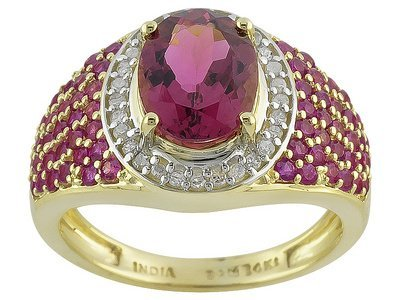 Pink Tourmaline 1.79ct, Pink Sapphire .80ctw And .14ctw