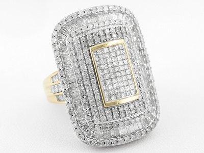 Diamond 2.90ctw Round & Baguette & Princess Cut 10k