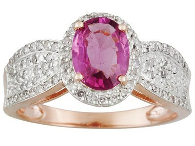 Pink Tourmaline 1.25ct With .38ctw White Diamond 14k