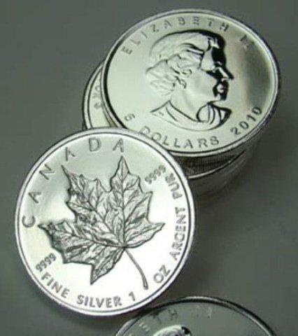 Lot of (10) SIlver Maple Leaf Bullion rds. 1 oz